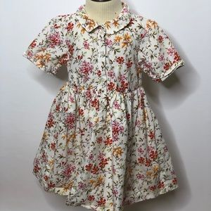 Baby gap cream floral collared lined dress